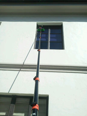 cleaning really high window